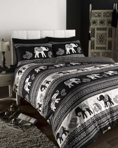 Black Reversible Elephant Themed Paisley Design Bedding Duvet Cover Set